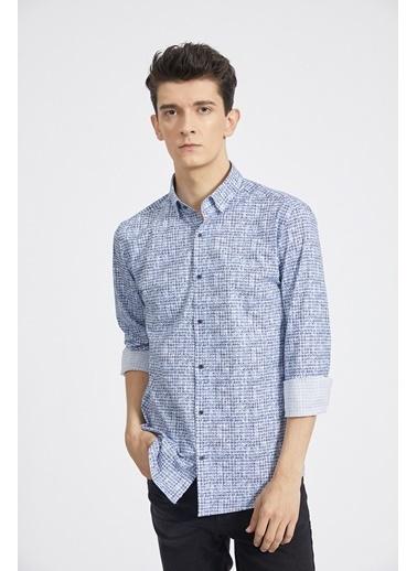 Avva Erkek  Baskılı Düğmeli Yaka Gömlek A02Y2292 Mavi